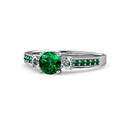 Emerald And Diamond 3 Stone Ring With Emerald On Side Bar 1.35 Ct Tw In 14k Gold