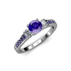 Iolite And Diamond 3 Stone Ring With Iolite On Side Bar 1.40 Ct Tw In 14k Gold