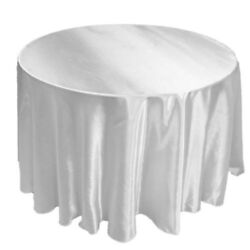10 Pack 132 Inch Round Satin Tablecloth 21 Colors Table Cover Wedding Banquet
