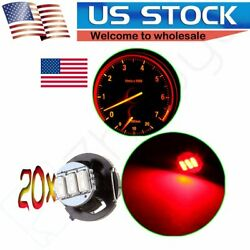 20X T4/T4.2 Red Neo Wedge LED Bulbs 3-3014-SMD For A/C Climate Control Light 12V