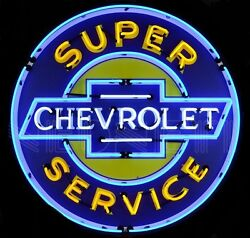 Super Chevrolet Service Neon Sign - Chevy Bowtie - Gm - Massive 36 - Metal Canandrlm