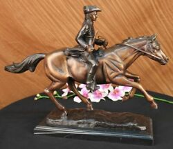 Marble Horse On Soldier French Mene Pj Signed Handcrafted Bronze Sculpture Art