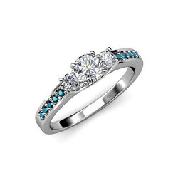 Diamond 3 Stone Ring With Blue Diamond On Side Bar 1.00 Ct Tw In 14k Gold