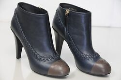 1325 New Navy Blue Brown Stitch Cc Ankle Platform Boots Booties Shoes 37