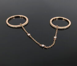 Fine 0.33ct Diamond And 14k Rose Gold Double Chained Bands