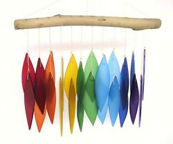 Rainbow And Driftwood Wind Chimes, Handcrafted Colored Hand-cut Glass Leaves Dm