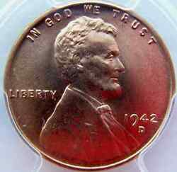 1942-d Lincoln Cent Pcgs Ms67rd Brilliant -smooth Fields
