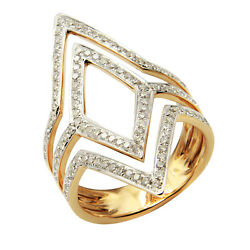 18k Yellow Gold Pave Diamond Wide Chevron Statement Cocktail Right Hand Ring