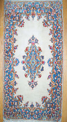 2and039x4and039 Kerman Persian Open Field 100 Wool Pile Medallion