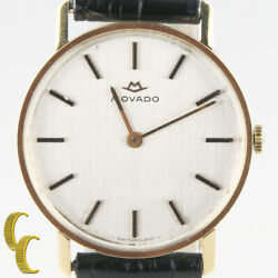 Menand039s Vintage Movado 18kt Gold Hand-winding Watch W/ Black Leather Band