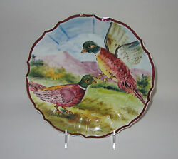 Intrada Italy Ceramic Decorative Wall Plate Pheasants 9 1/4 Made In Italy New