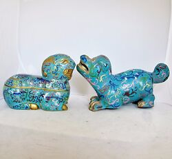 Antique Or Vintage Chinese Blue Cloisonne Dog Statue And Ram Box W/ Archaic Design