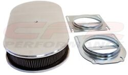 Chevy Ford Mopar 19 Oval Polished Aluminum Dual Quad Air Cleaner Smooth 2 Carbs