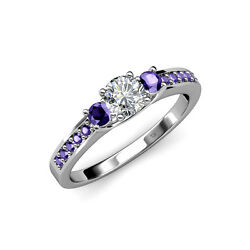 Diamond And Iolite Three Stone Ring With Side Iolite 1.00 Ct Tw 14k Gold Jp75290