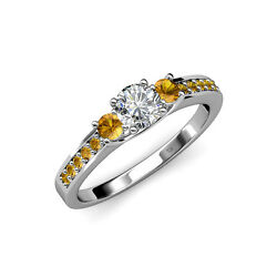 Diamond And Citrine Three Stone Ring With Side Citrine In 14k Gold Jp75287