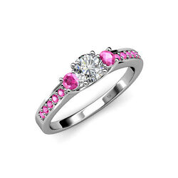 Diamond And Pink Sapphire Three Stone Ring With Side Sapphire In 14k Gold Jp75266