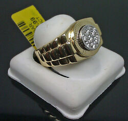 10k Menand039s Yellow Gold Ring With Diamond Wedding/engagement/casual Wear Ring Band