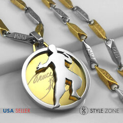 Stainless Steel Kung Fu Star Bruce Lee Logo On Round Pendant Stick Necklace 13z