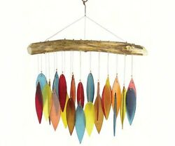 Santa Fe Chimes, Handcrafted Driftwood And Colored Glass Leaves Wind Chimes Dm