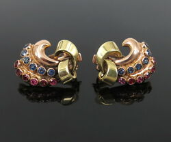 1950andrsquos Retro 1.0ct Sapphire And Ruby 14k Rose And Yellow Gold Clip Earrings