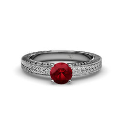 Ruby Solitaire Engagement Ring With Milgrain Work 0.95 Carat 14k Gold Jp78721