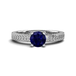 Blue Sapphire Solitaire Engagement Ring With Milgrain Work In 14k Gold Jp78676
