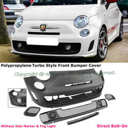 Fit 12-17 Fiat 500 500c Abarth Turbo Style Front Bumper Cover Kit W/o Pdc
