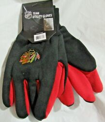 Nhl Chicago Blackhawks Colored Palm Utility Gloves Black W/ Red Palm By Foco