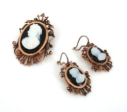 Antique Onyx Cameo And 9k Rose Gold Pendant Brooch And Earrings Set