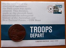 Australia Troops Depart Limited Edition Gold Stamped Stamp And Coin Pnc Cover