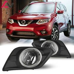 14-16 For Nissan Rogue Clear Lens Pair Fog Light Lamp+wiring+switch Kit