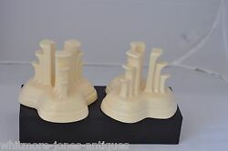 Vintage Fiesta Pair Tripod Candle Holders Ivory Hard To Find  515.113