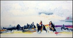 Earl Biss Bringing The Children Home From Star School Art On Paper Hand Signed