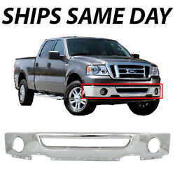 Chrome - Steel Front Bumper Face Bar For 2006 2007 2008 Ford F150 Truck W/ Fog