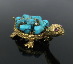 Vintage 0.09ct Diamond And Sapphire And Turquoise 18k Yellow Gold Tortoise Pin
