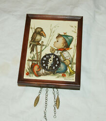 hummel crow boy trumpet picture wall clock