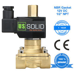 U. S. Solid 1/2 Brass Electric Solenoid Valve 12v Dc Normally Open Nbr