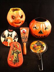 Vtg Lot 6 Halloween Tin Noisemakers, Paper Mache And Jack O' Lantern Witches, Cat