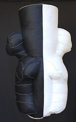 PUNCHING BAG DUMMY BOXING BODY NATURAL LEATHER BLACK & WHITE FILLED 130 lbs