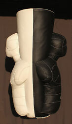 PUNCHING BAG DUMMY BOXING BODY NATURAL LEATHER SCULPTURE FILLED BLACK
