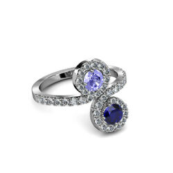 Blue Sapphire And Tanzanite With Diamond Bypass Engagement Ring 14k Gold Jp89377
