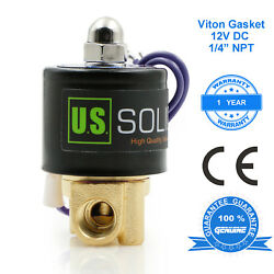 U.s. Solid 1/4 Brass Electric Solenoid Valve Dc 12v Viton Water Air Fuel N/c