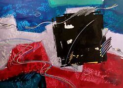 Eric Waugh Olie Ii Original Signed Artwork Mixed Media Painting, Abstract, Obo