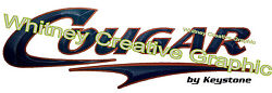 Cougar Rv Graphic Lettering Decal 49. X 16 Version 2 Dark Blue And Copper