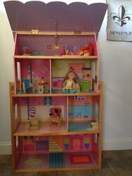 Kidkraft 3 Story Dollhouse With Roof, Furniture, And Two Groovygirl Dolls