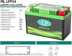 Lithium Ion Lightweight Motorcycle Battery Ml Lfp14 Replaces Most Batteries