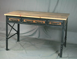 Vintage Industrial Desk With Drawers. Reclaimed Barn Wood And Steel. Rustic.