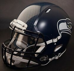 Seattle Seahawks Nfl Authentic Gameday Football Helmet W/ S2bd-sp Facemask