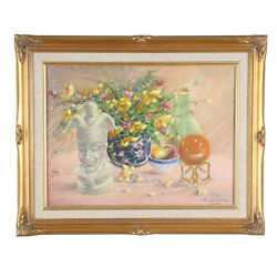 Painted Vase W/ Flowers By Anthony Sidoni 2000 Signed Oil On Canvas