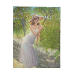 Untitled Woman Resting On Stone Wall By Anthony Sidoni 1998 Signed Oil